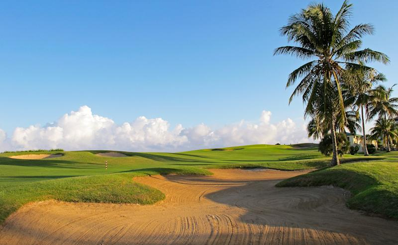 The 409-yard 18th at Cuba's Varadero Golf Club is one of two holes that run along the Atlantic Ocean.