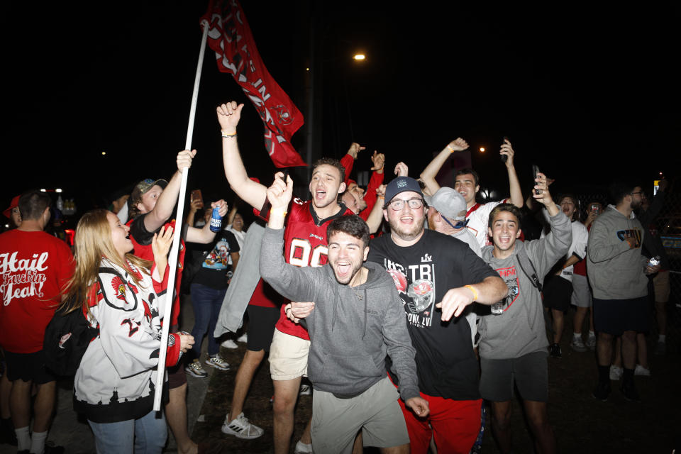 Tampa Bay Buccaneers fans celebrate after Super Bowl LV