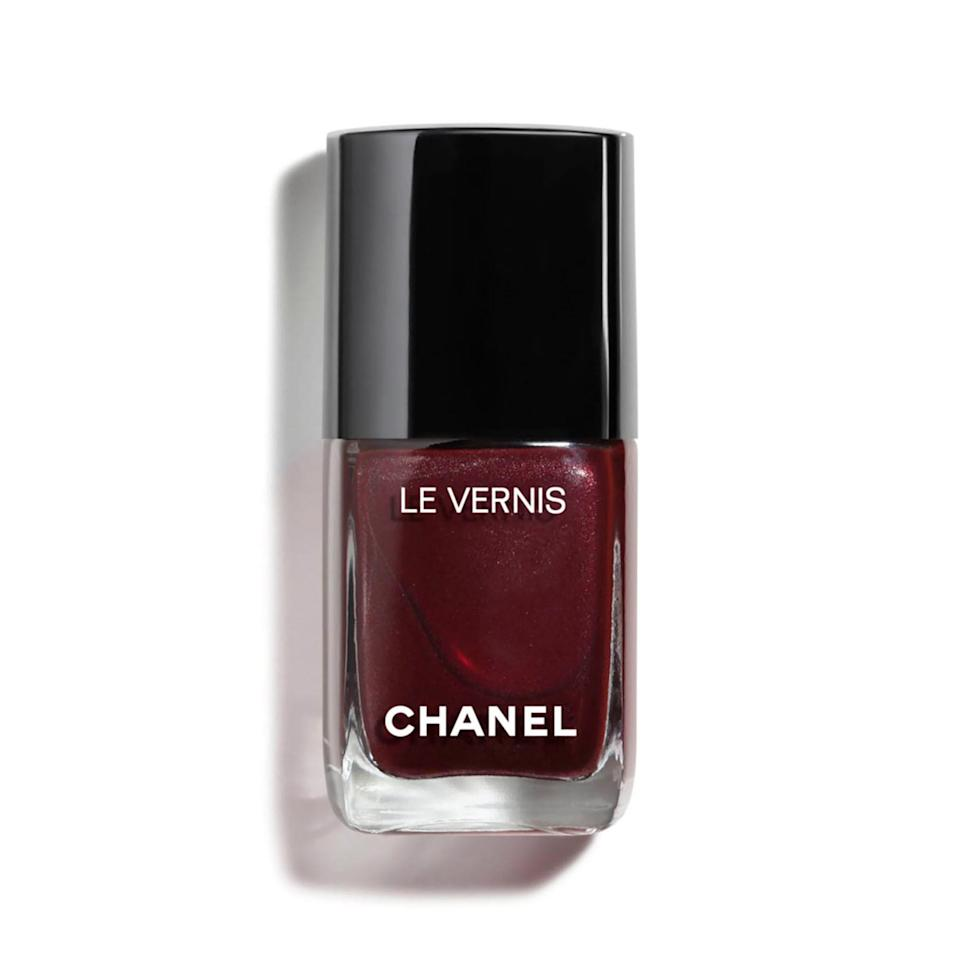 """<p>Blackberry — particularly Chanel Le Vernis in Vamp — is a favorite among multiple nail pros, and it makes complete sense as to why. The smoky red hue is so sultry, it earned a <a href=""""https://www.allure.com/review/chanel-vernis-nail-polish-vamp?mbid=synd_yahoo_rss"""" rel=""""nofollow noopener"""" target=""""_blank"""" data-ylk=""""slk:Best of Beauty Award"""" class=""""link rapid-noclick-resp"""">Best of Beauty Award</a>, garnered a loyal following, and even spurred its own Wikipedia page. Elle says she can recall an instance where the nail polish sold out and was auctioned for hundreds on eBay the year it first launched.</p> <p><strong>$28</strong> (<a href=""""https://shop-links.co/1692774874890177817"""" rel=""""nofollow noopener"""" target=""""_blank"""" data-ylk=""""slk:Shop Now"""" class=""""link rapid-noclick-resp"""">Shop Now</a>)</p>"""