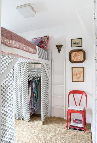 Sometimes your space is so small, there's not even room for a closet door. In that case, bring in a patterned or lively curtain to spruce up the space.  Source: Domino Magazine