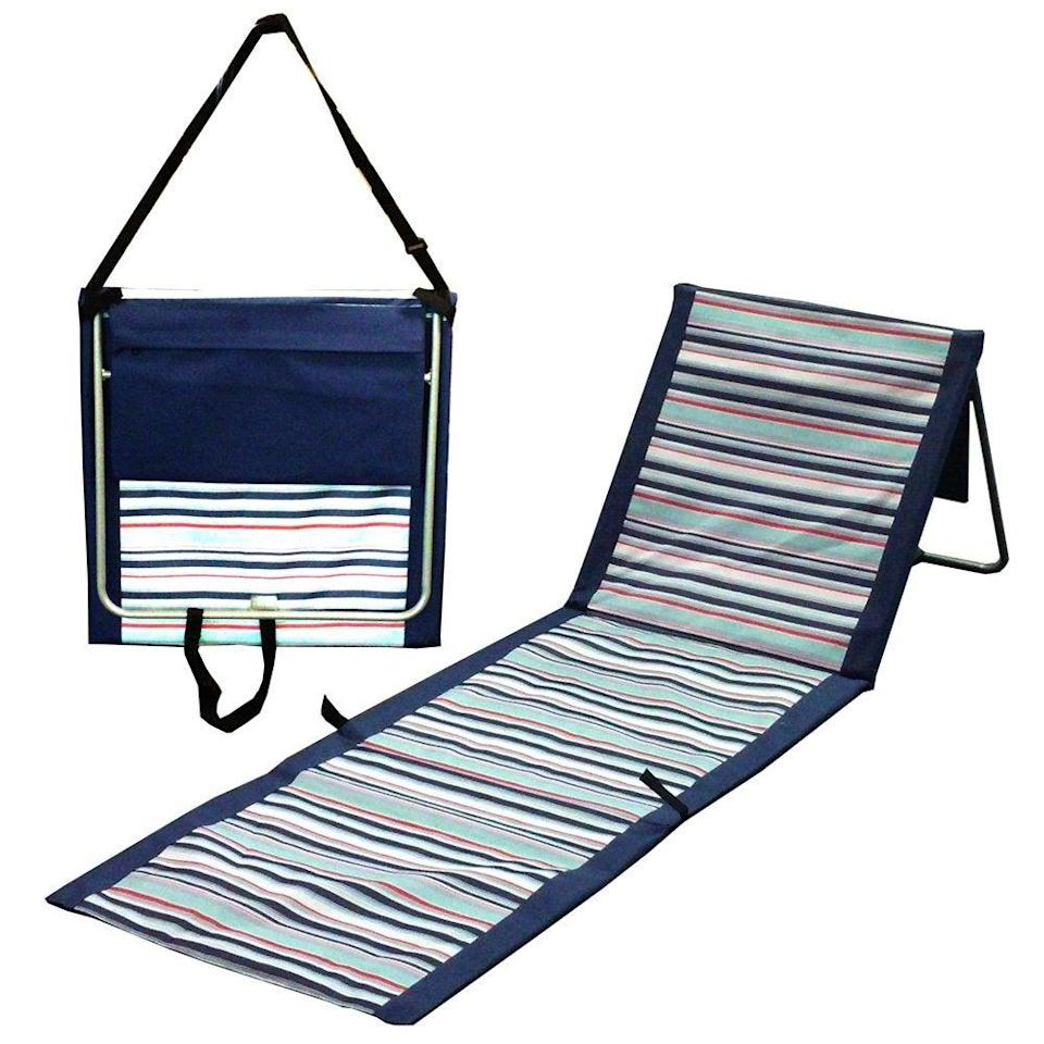 """<h2>AJ Wholesale Portable Folding Beach Mat Lounger Chair</h2><br>Listen up loungers: this lightweight, fully padded mat with an adjustable headrest and zippered pouch that folds up into an over-the-shoulder tote bag is for you.<br><br><em>Shop</em> <strong><em><a href=""""https://www.walmart.com/browse/aj-wholesale/YnJhbmQ6QUogV2hvbGVzYWxl"""" rel=""""nofollow noopener"""" target=""""_blank"""" data-ylk=""""slk:AJ Wholesale"""" class=""""link rapid-noclick-resp"""">AJ Wholesale</a></em></strong><br><br><strong>AJ Wholesale</strong> Portable Folding Beach Mat Lounger Chair, $, available at <a href=""""https://go.skimresources.com/?id=30283X879131&url=https%3A%2F%2Fwww.walmart.com%2Fip%2FPortable-Folding-Beach-Mat-Lounger-Chair%2F757996677"""" rel=""""nofollow noopener"""" target=""""_blank"""" data-ylk=""""slk:Walmart"""" class=""""link rapid-noclick-resp"""">Walmart</a>"""