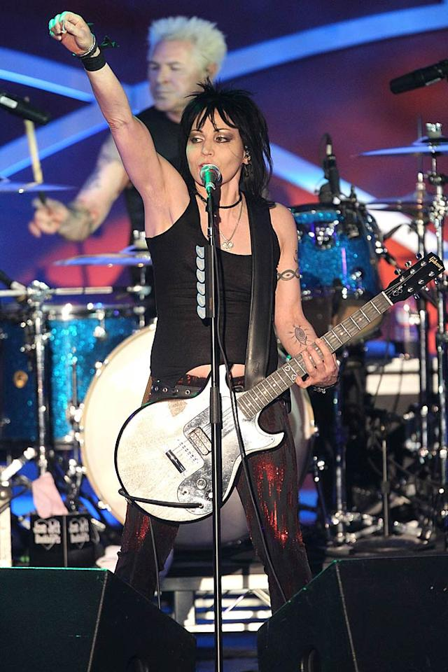 """""""I Love Rock 'n' Roll"""" singer Joan Jett can rock out on her <i>own</i> guitar. Gibson, which makes the instrument she uses, created the Joan Jett Blackheart Melody Maker Electric Guitar, which can be yours for ... $899. Frederick M. Brown/<a href=""""http://www.gettyimages.com/"""" target=""""new"""">GettyImages.com</a> - April 29, 2011"""