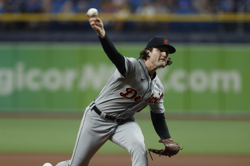 Detroit Tigers starting pitcher Casey Mize works from the mound against the Tampa Bay Rays during the first inning of a baseball game Friday, Sept. 17, 2021, in St. Petersburg, Fla. (AP Photo/Scott Audette)