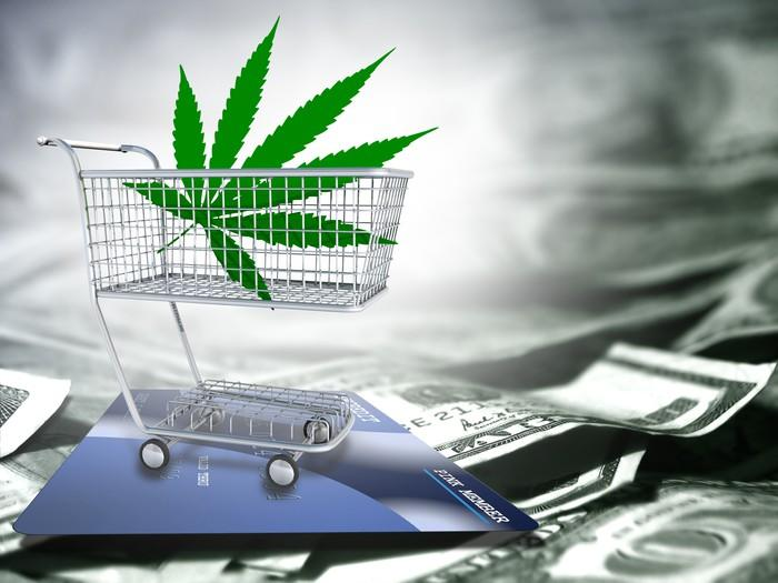 Cannabis leaf inside a miniature shopping cart on top of a pile of cash.
