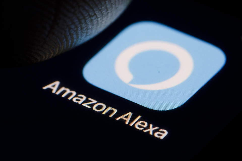 BERLIN, GERMANY - DECEMBER 14: The Logo of virtual assistant Amazon Alexa is displayed on a smartphone on December 14, 2018 in Berlin, Germany. (Photo by Thomas Trutschel/Photothek via Getty Images)