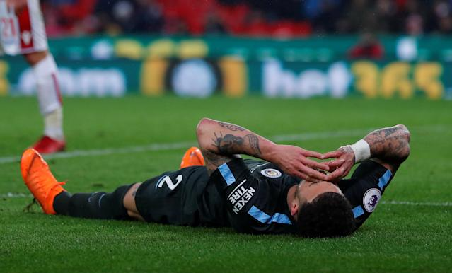 "Soccer Football - Premier League - Stoke City vs Manchester City - bet365 Stadium, Stoke-on-Trent, Britain - March 12, 2018 Manchester City's Kyle Walker looks dejected after a missed chance Action Images via Reuters/Andrew Couldridge EDITORIAL USE ONLY. No use with unauthorized audio, video, data, fixture lists, club/league logos or ""live"" services. Online in-match use limited to 75 images, no video emulation. No use in betting, games or single club/league/player publications. Please contact your account representative for further details."