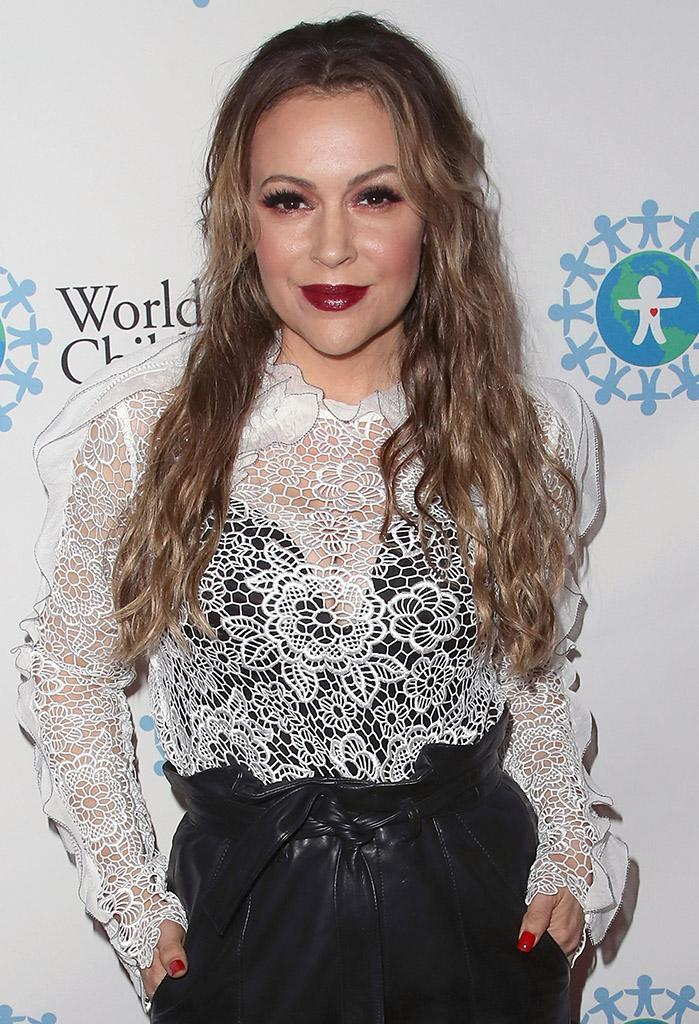 Actress Alyssa Milano attends the 2017 World of Children Hero Awards at Montage Beverly Hills on April 19, 2017