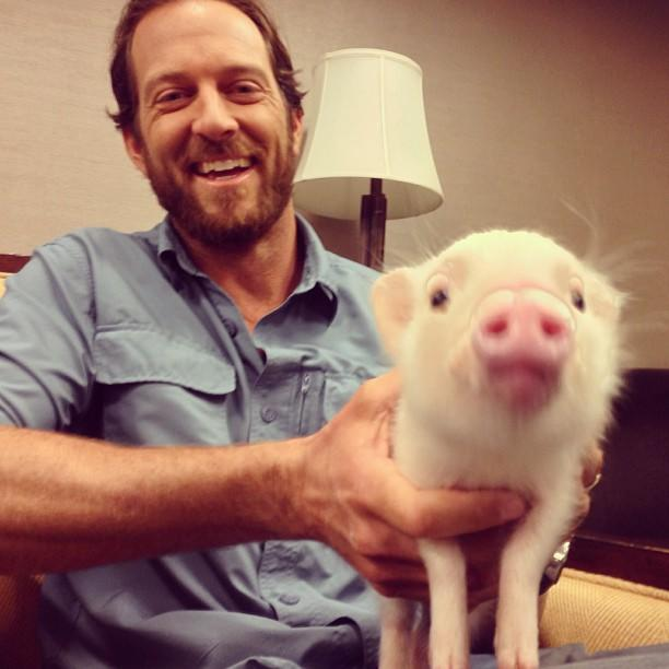 Hanging with host of Jobs That Bite, Jeremy Brandt and a piglet named Becky. Just another day at the office.