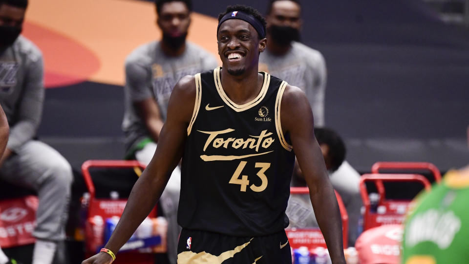 TAMPA, FLORIDA - MARCH 19: Pascal Siakam #43 of the Toronto Raptors reacts during the second quarter against the Utah Jazz at Amalie Arena on March 19, 2021 in Tampa, Florida. NOTE TO USER: User expressly acknowledges and agrees that, by downloading and or using this photograph, User is consenting to the terms and conditions of the Getty Images License Agreement. (Photo by Douglas P. DeFelice/Getty Images)