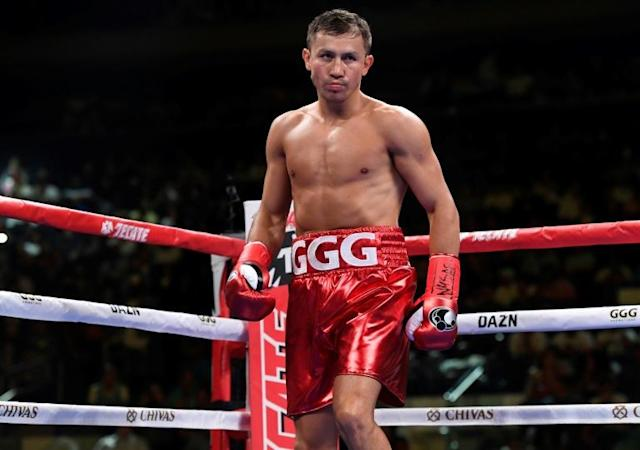 Gennady Golovkin of Kazakhstan on the way to a victory over Canadian Steve Rolls at Madison Square Garden in June 2019 (AFP Photo/Sarah Stier)