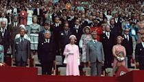 <p>The Queen opens the Montreal Olympics. Her daughter, Princess Anne, would compete in the equestrian events.</p>
