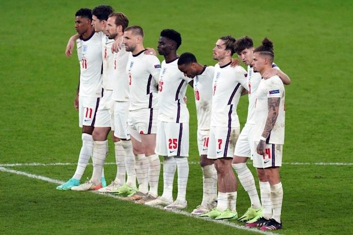 England's football team after the penalties