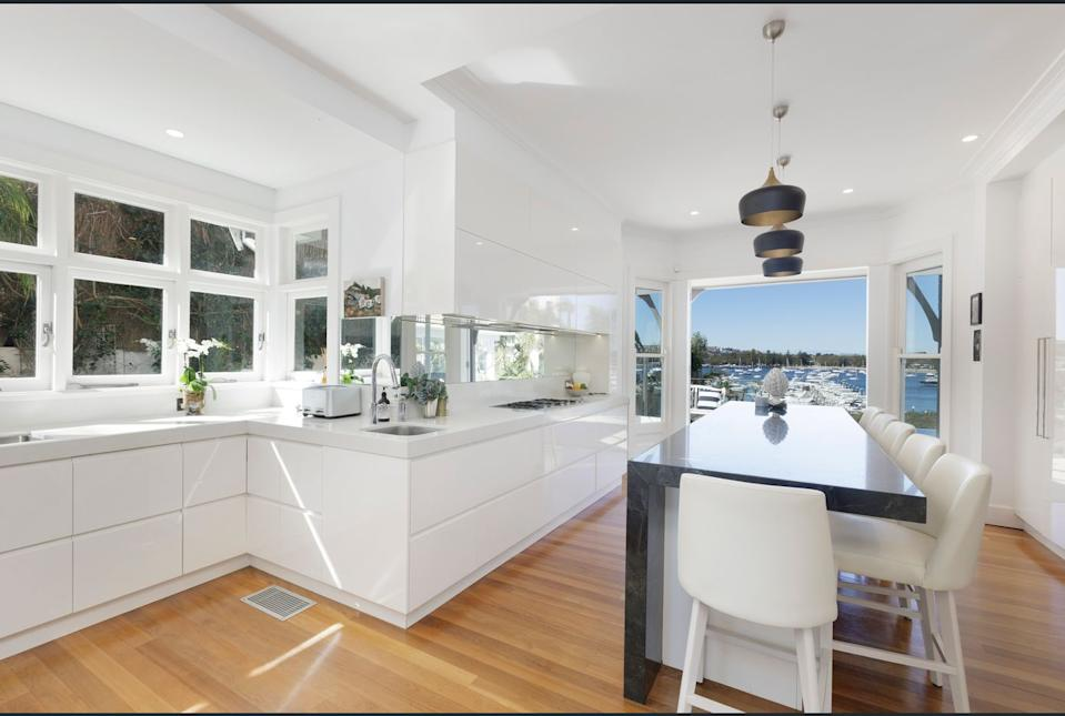 Mia Freedman's kitchen in her Point Piper home