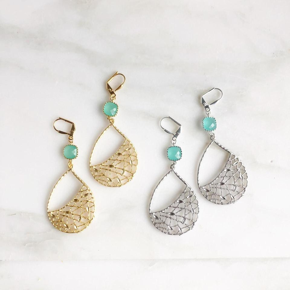 <p><span>Turquoise Chandelier Earrings (Silver and Gold)</span> ($29)</p>