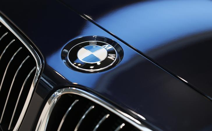 BMW logo is pictured before news conference of German premium automaker BMW in Munich