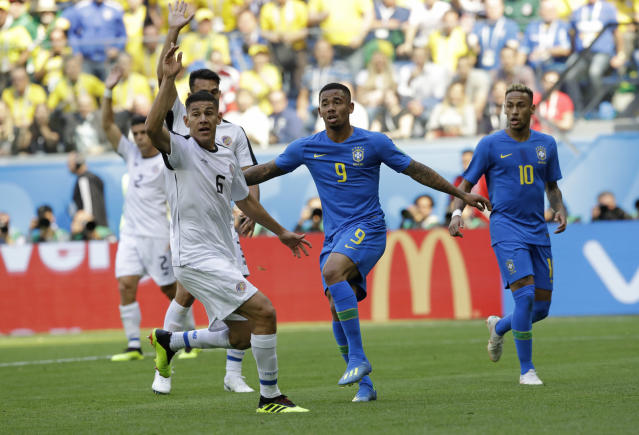 Costa Rica's Oscar Duarte successfully appeals for offside after Brazil's Gabriel Jesus, centre, scored a goal, which was disallowed during the group E match between Brazil and Costa Rica at the 2018 soccer World Cup in the St. Petersburg Stadium in St. Petersburg, Russia, Friday, June 22, 2018. (AP Photo/Andre Penner)