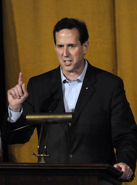 Republican presidential candidate and former Pennsylvania Senator Rick Santorum speaks during the Alabama Republican Presidential Forum in Birmingham, Ala., Monday, March 12, 2012. (AP Photo/The Birmingham News, Jeff Roberts)
