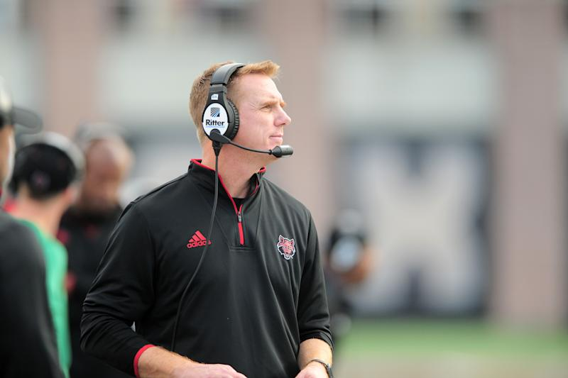 SAN MARCOS, TX - NOVEMBER 24: Arkansas State Red Wolves head coach Blake Anderson watches action during Sun Belt Conference game against the Texas State Bobcats on November 24, 2018 at Bobcat Stadium in San Marcos, TX. (Photo by John Rivera/Icon Sportswire via Getty Images)