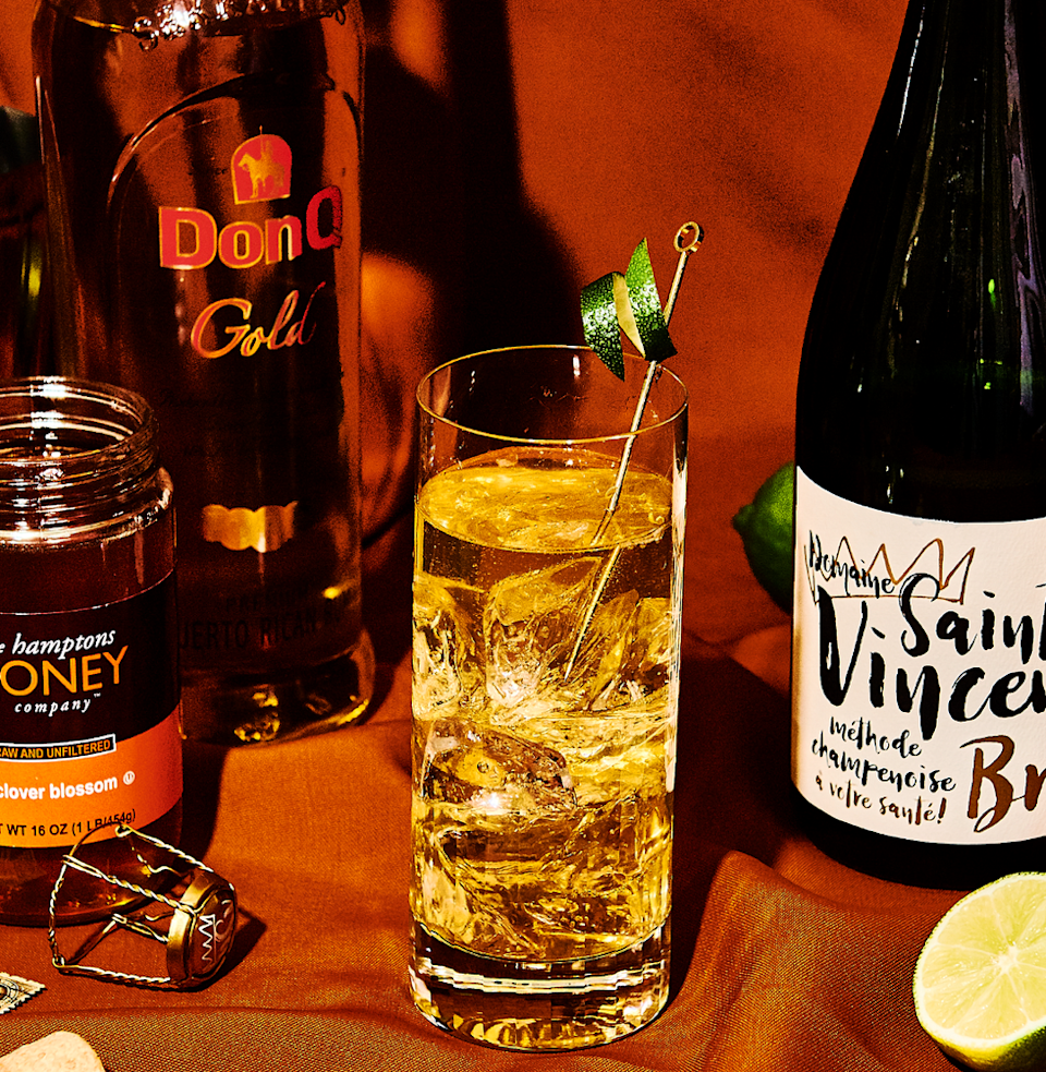 """<p><em>Rum and champagne aren't obvious mates, but that makes a bright and honeyed Air Mail all the more interesting.</em></p><p><strong>Ingredients</strong></p><p>• 2 oz. golden rum<br>• 1/2 oz. lime juice<br>• 1 tsp. honey<br>• 5 oz. Brut champagne </p><p><strong>Directions</strong></p><p>Stir rum, lime juice, and honey thoroughly with cracked ice in a chilled cocktail shaker. Pour unstrained into a Collins glass. Top with champagne.</p><p><a class=""""link rapid-noclick-resp"""" href=""""https://www.esquire.com/food-drink/drinks/recipes/a3760/air-mail-drink-recipe/"""" rel=""""nofollow noopener"""" target=""""_blank"""" data-ylk=""""slk:Read More"""">Read More</a></p>"""