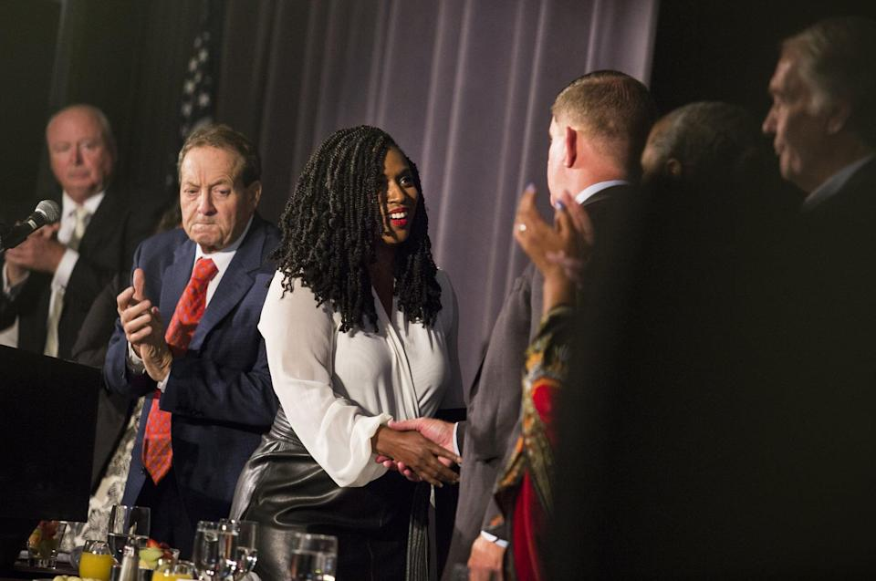 BOSTON, MA - SEPTEMBER 2: U.S. Representative Ayanna Pressley shakes hands with Boston Mayor Martin J. Walsh at the Annual Greater Boston Labor Council Breakfast in Boston on Sep. 2, 2019. Over 600 union leaders, activists and elected officials were in attendance. (Photo by Erin Clark for The Boston Globe via Getty Images)