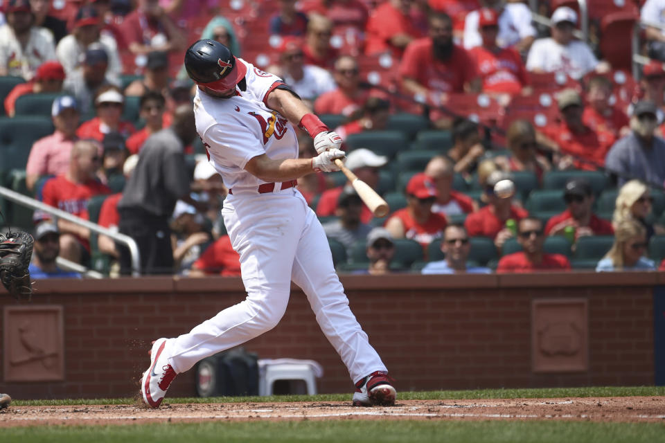 St. Louis Cardinals' Paul Goldschmidt hits an RBI-single during the third inning of a baseball game against the Minnesota Twins on Sunday, Aug. 1, 2021, in St. Louis. (AP Photo/Joe Puetz)