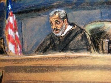 Judge Vernon Broderick is pictured in court in New York in this court sketch October 22, 2015. REUTERS/Jane Rosenberg