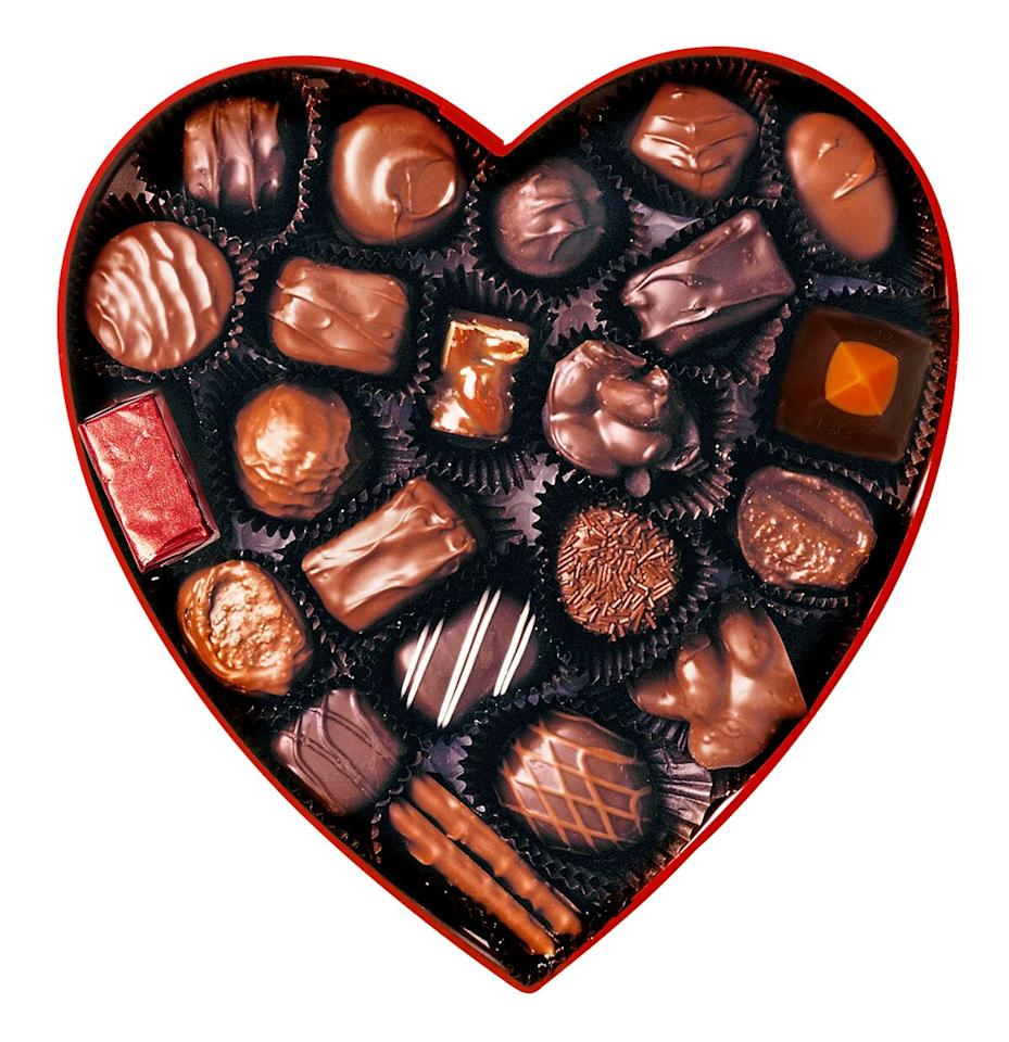 """Candy is the No. 1 gift for Valentine's Day, according to the National Retail Federation. Whether you're making your own mix—companies like <a href=""""http://www.anrdoezrs.net/links/8029122/type/dlg/sid/PEO,6WaystoUpgradeValentine'sDay,llieberman1271,Unc,Gal,7629149,202002,I/https://www.godiva.com"""" target=""""_blank"""" rel=""""nofollow"""">Godiva</a> and <a href=""""https://click.linksynergy.com/deeplink?id=93xLBvPhAeE&mid=35786&murl=https%3A%2F%2Fwww.sees.com&u1=PEO%2C6WaystoUpgradeValentine%27sDay%2Cllieberman1271%2CUnc%2CGal%2C7629149%2C202002%2CI"""" target=""""_blank"""" rel=""""nofollow"""">See's Candies</a> let you customize a collection—or buying a chocolate box at the drugstore, follow our guide below to get straight to the good stuff.  1. See a treat wrapped in shiny foil? It's either hiding a liquid center (think cherry cordials) or is simply a solid chocolate candy.  2. Oval or round pieces often have soft centers—like ganache or buttercream— because the filling is piped or scooped before being dipped in chocolate.  3. Colorful designs hint at what's inside. Orange dots may signal citrus gelée; white slashes could mean coconut; a sprinkle of green powder is likely matcha.  4. A good rule of thumb: Soft caramels are often square, and chewier caramels are generally rectangular.  5. Nut-filled chocolates are the easiest to spot in the box, with their chunky, bumpy textures."""