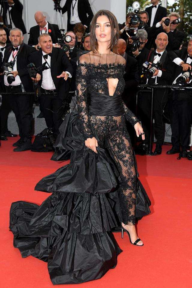 """<p>Emily Ratajkowski at the <a href=""""https://www.yahoo.com/movies/tagged/cannes-film-festival"""" data-ylk=""""slk:Cannes Film Festival"""" class=""""link rapid-noclick-resp"""">Cannes Film Festival</a> <em>Loveless</em> <em>(Nelyubov)</em> screening on May 18, 2017 (Photo: Dominique Charriau/WireImage) </p>"""