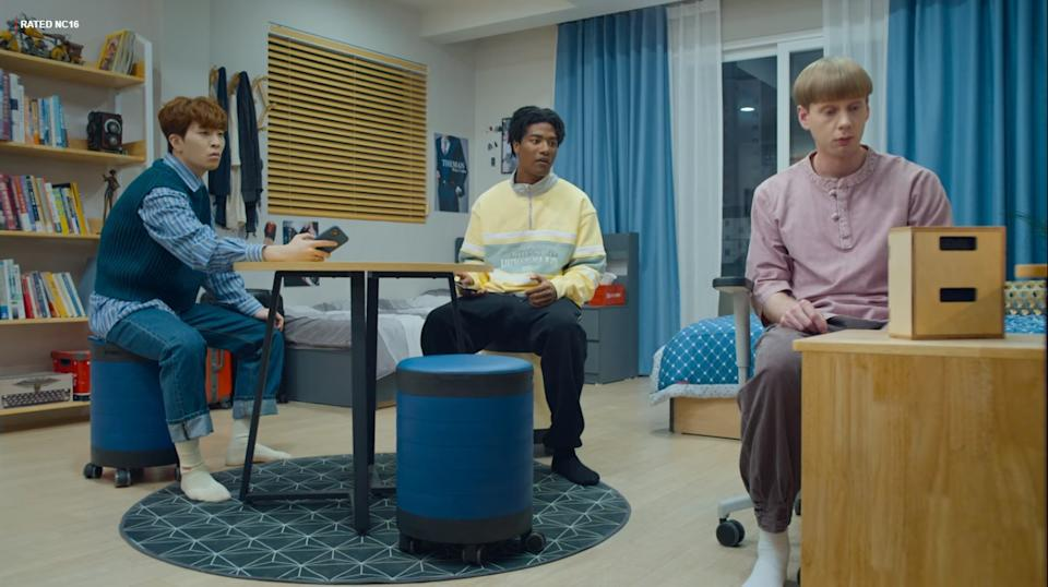 Korean-Australian Sam (Choi Young Jae), Han Hyun Min and Hans (Yoa Kim) are foreign students living together in a dormitory in So Not Worth It