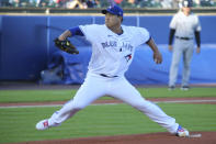 Toronto Blue Jays starting pitcher Hyun Jin Ryu throws to a New York Yankees Batter during the first inning of a baseball game, Tuesday, June 15, 2021, in Buffalo, N.Y. (AP Photo/Jeffrey T. Barnes)