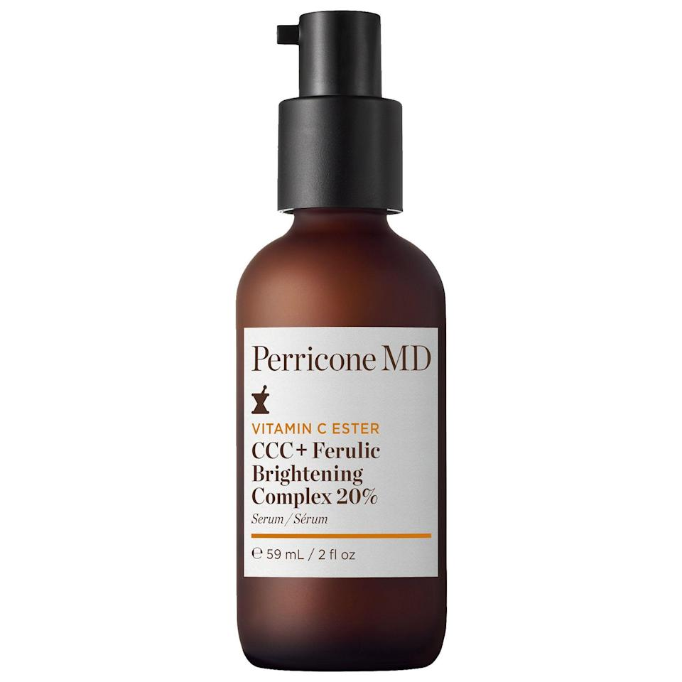 """<p><strong>Perricone MD</strong></p><p>sephora.com</p><p><strong>$159.00</strong></p><p><a href=""""https://go.redirectingat.com?id=74968X1596630&url=https%3A%2F%2Fwww.sephora.com%2Fproduct%2Fperricone-md-vitamin-c-ester-ccc-ferulic-brightening-complex-20-P461488&sref=https%3A%2F%2Fwww.marieclaire.com%2Fbeauty%2Fg35067108%2Fferulic-adic-guide%2F"""" rel=""""nofollow noopener"""" target=""""_blank"""" data-ylk=""""slk:SHOP IT"""" class=""""link rapid-noclick-resp"""">SHOP IT </a></p><p>Here's a highly effective yet non-abrasive brightening option. Powered by Vitamin C Ester, this serum works to gently fade imperfections and reduce visible signs of aging without causing irritation.</p>"""