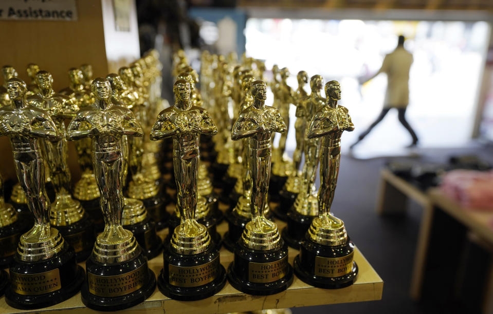 Souvenir Oscars inside a souvenir shop in Los Angeles. The 93rd Academy Awards will be held at various locations including the Dolby Theatre in Hollywood on 25 April 2021. (AP Photo/Chris Pizzello)