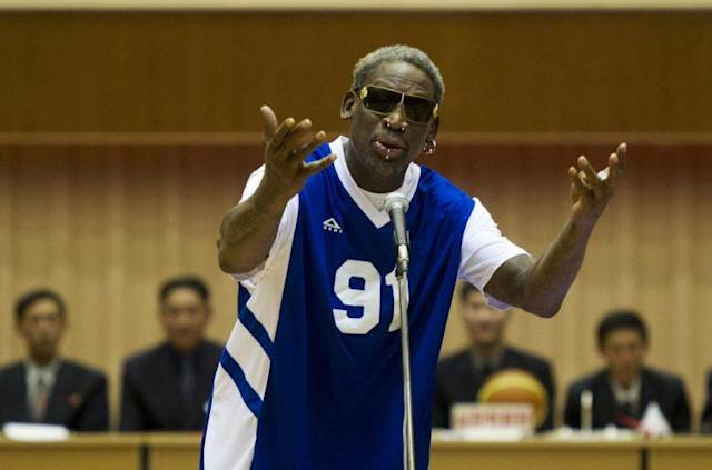 "Dennis Rodman singing ""Happy Birthday"" to Kim Jong Un on Jan. 8, 2014. (Photo: AP Images)"