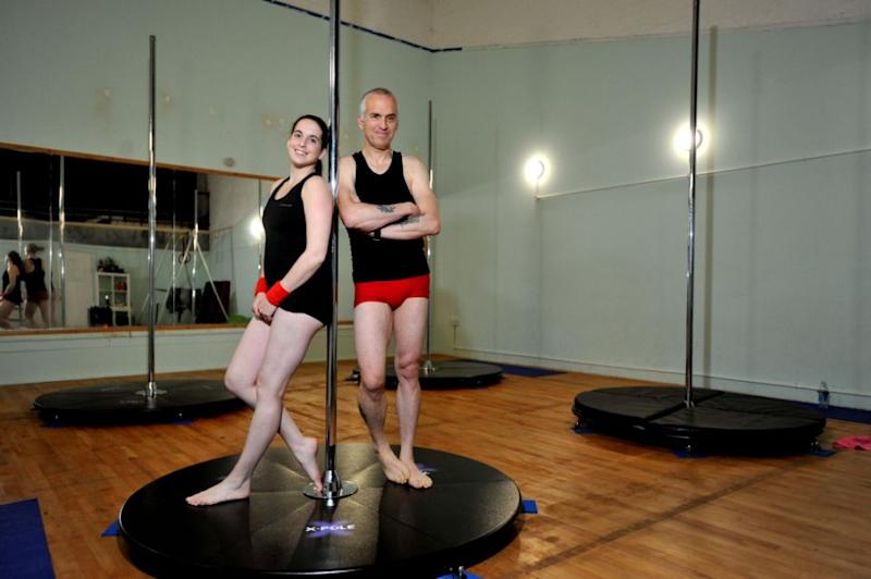 Dave and Hazel love pole-dancing together so much, they're opening a studio. Photo: SWNS