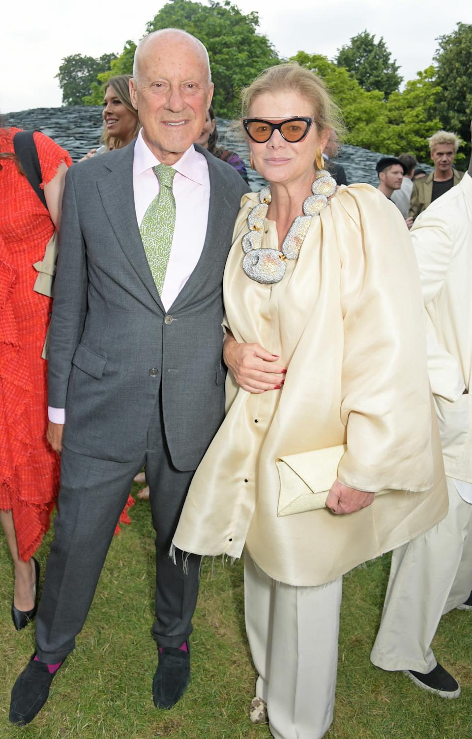 LONDON, ENGLAND -  JUNE 25:   Lord Norman Foster and Lady Elena Ochoa Foster attend The Summer Party 2019, presented by Serpentine Galleries & Chanel, and hosted by Michael R. Bloomberg, Hans Ulrich Obrist & Sir David Adjaye, at The Serpentine Gallery on June 25, 2019 in London, England.  (Photo by David M. Benett/Dave Benett/Getty Images for Serpentine Galleries)