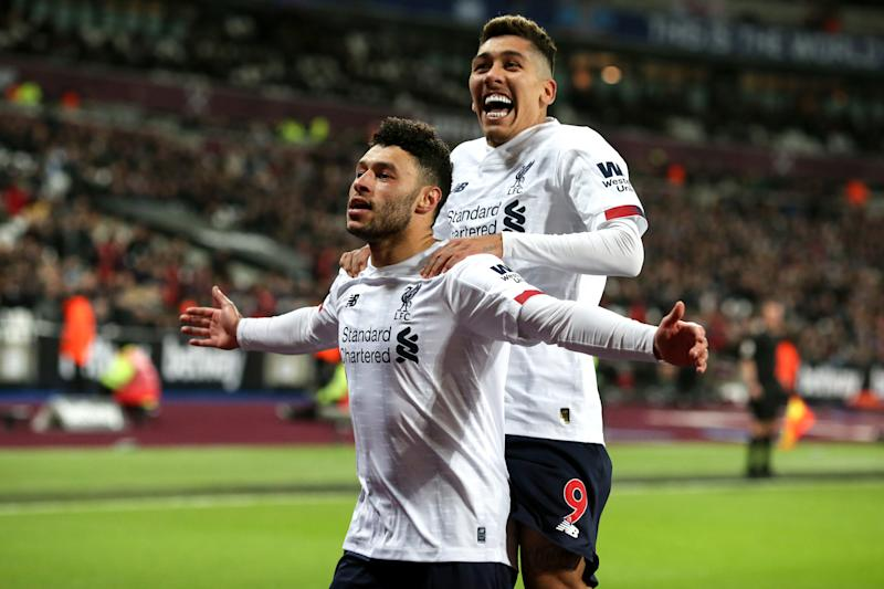 Alex Oxlade-Chamberlain (left) scored the second goal as Liverpool beat West Ham. (Photo by Charlotte Wilson/Offside/Offside via Getty Images)