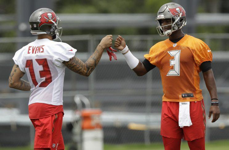 Jameis Winston and Mike Evans at the Buccaneers' recent minicamp. (AP)