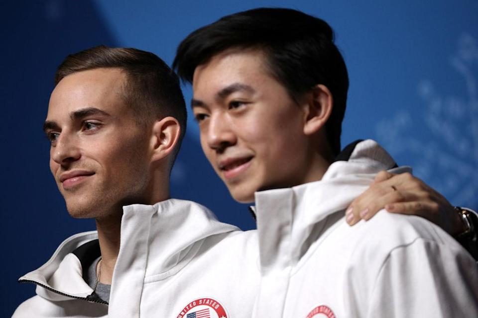 Figure skaters Adam Rippon (left) and Vincent Zhou share a lot more in common than people might think. (Getty)