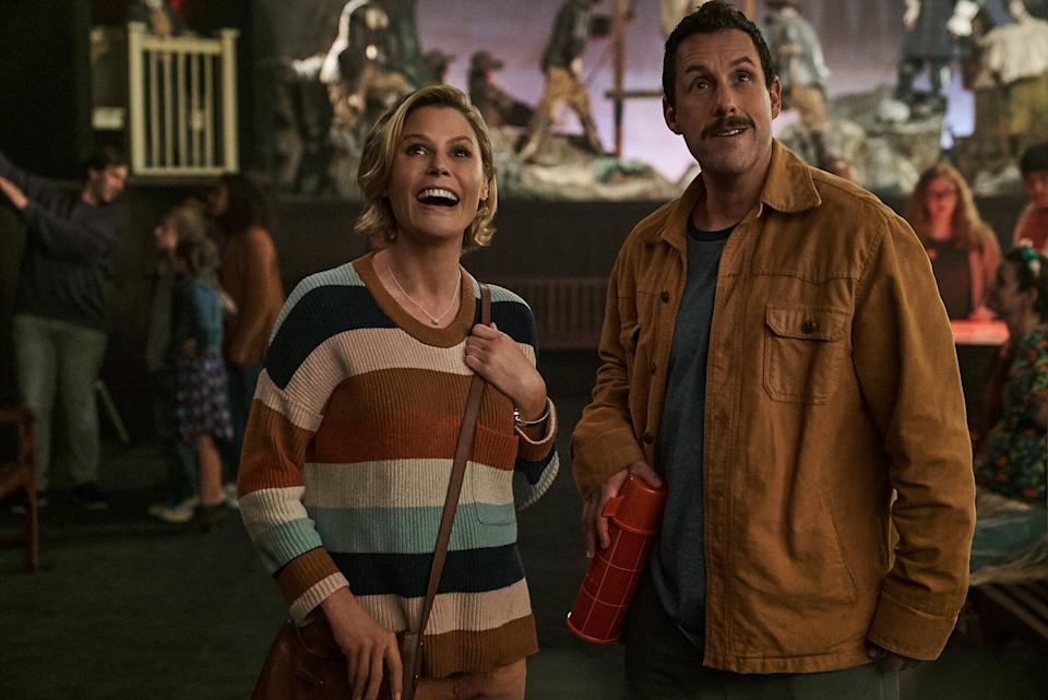 "Julie Bowen and Adam Sandler in ""Hubie Halloween"" on Netflix. (Photo: Scott Yamano/Netflix)"