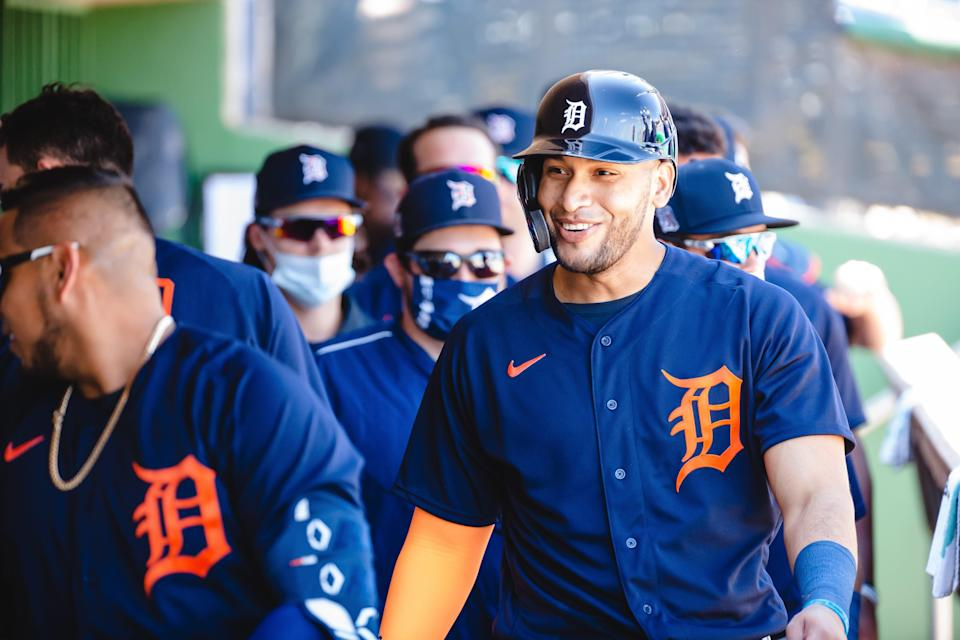 Detroit Tigers' Victor Reyes smiles during a game against the Philadelphia Phillies at BayCare Ballpark in Clearwater, Florida on March 10, 2021.
