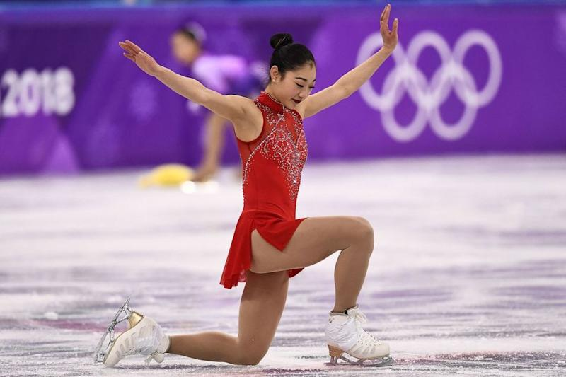Figure skater Mirai Nagasu competing in the women's individual free skate at the 2018 Winter Olympics