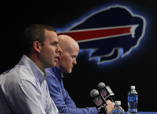 Buffalo Bills general manager Brandon Beane, left and head coach Sean McDermott may have a mandate this draft: get a quarterback. (AP)