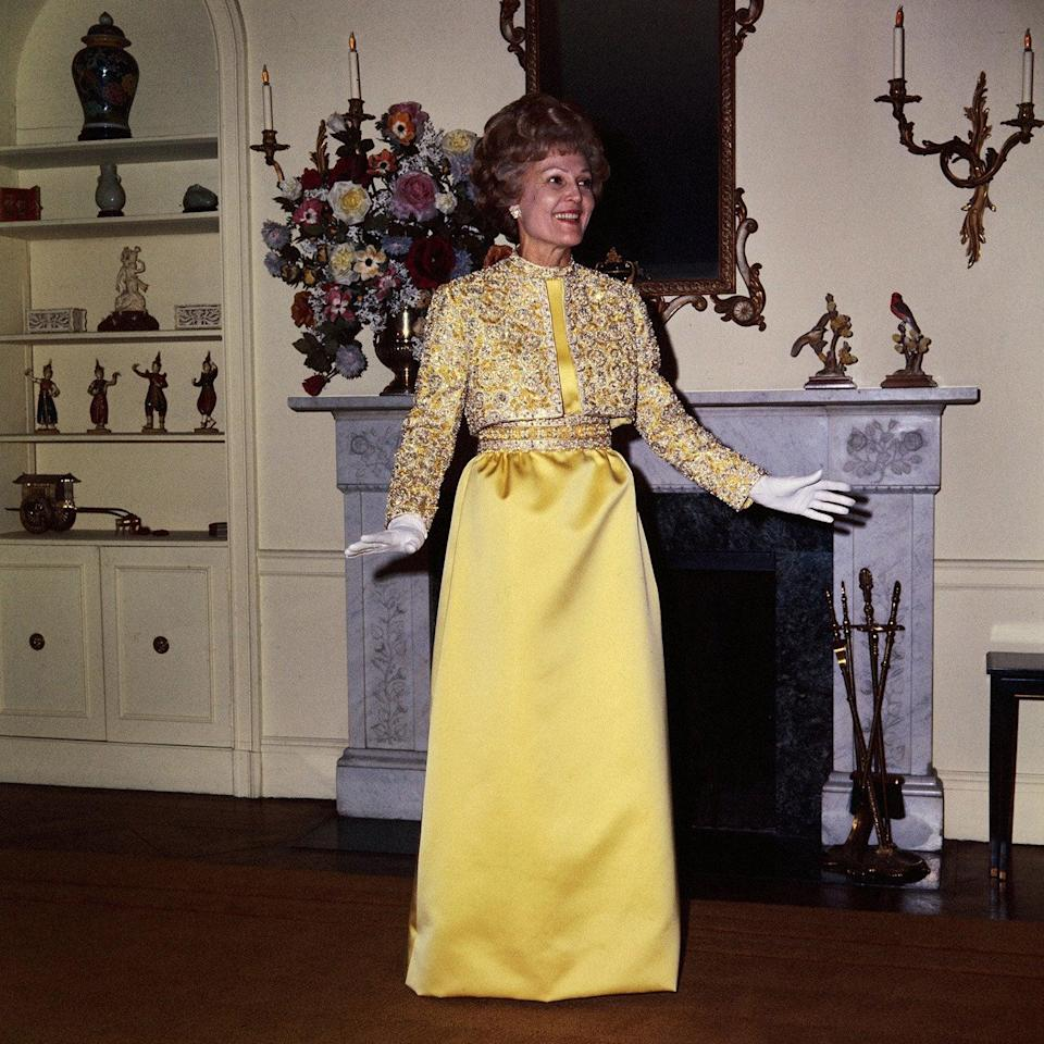 Pat Nixon rocked a banana yellow gown with matching bolero by Karen Stark by Harvey BerinBettmann