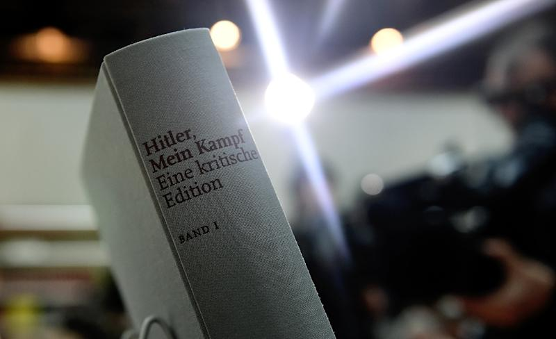 """A copy of an annotated version of Adolf Hitler's book """"Mein Kampf"""" is pictured in Munich, southern Germany, on January 8, 2016 (AFP Photo/Christof STACHE)"""