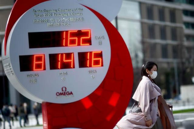 A giant watch for Tokyo 2020 Olympic Games is pictured in Tokyo
