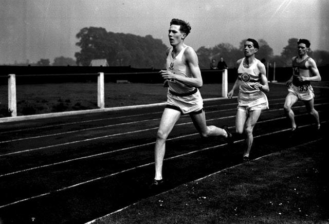 Bannister is pictured running for Oxford University