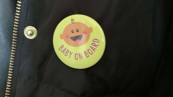 PHOTO: Megan Nufer of Chicago says she received a 'Baby on Board' button as a baby shower gift. (Courtesy Megan Nufer)