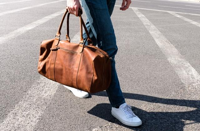 Buckle and Seam leather duffel bag
