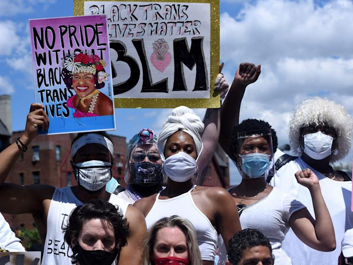 FILE PHOTO: People participate in a Black Trans Lives Matter rally in the Brooklyn borough in New York City, U.S., June 14, 2020. REUTERS/Stephanie Keith