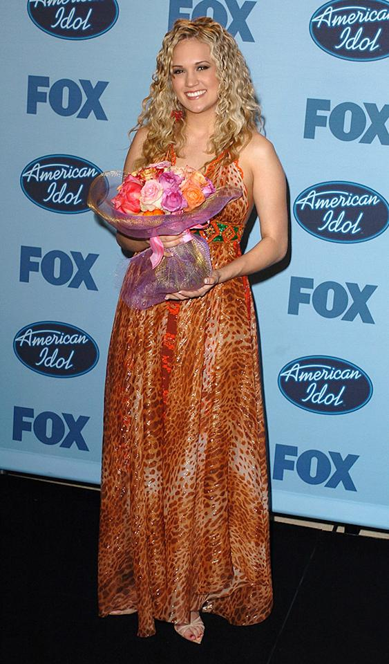 "Carrie Underwood during ""American Idol"" Season 4 - Finale - Press Room at Kodak Theatre in Hollywood, California, United States. (Photo by SGranitz/WireImage)"